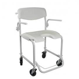 Sedia a rotelle per doccia | Sedia disabili con ruote | Braccioli e poggiapiedi pieghevoli | Alluminio | Bianco | Invacare