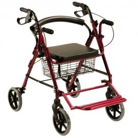 Deambulatore pieghevole | 2 in 1 | 4 ruote | Freni incorporati | Seduta e schienale | Altezza regolabile