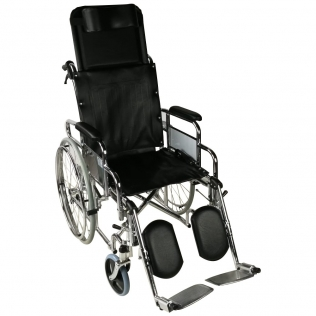 Sedia a rotelle pieghevole | Schienale reclinabile| Ortopedico | Poggiagambe e poggiatesta | Obelisco | Mobiclinic