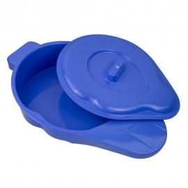 Padella per urina | Padella da letto | Con coperchio | Plastica | Blu | Mobiclinic