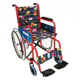 Sedia a rotelle per bambini | Pieghevole | Ruote grandi | Poggiapiedi | Rosso con tappezzeria fantasia | Teatro | Mobiclinic