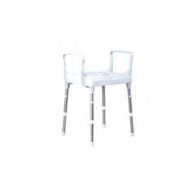 Sedia WC per doccia con braccioli | Sedia con water regolabile in altezza | Alluminio e plastica