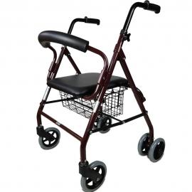 Deambulatore pieghevole   Sedile e schienale   Alluminio   Cesta   Per anziani   Bordeaux  Prado   Mobiclinic