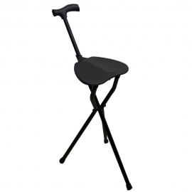 Bastone treppiedi | Con seduta | Pieghevole | Alluminio | Con impugnatura Derby | Nero