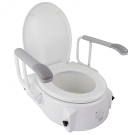 Rialzo per WC | Con coperchio| 5-15 cm| Regolabile in altezza| Inclinabile|Braccioli pieghevoli| Muralla| Mobiclinic