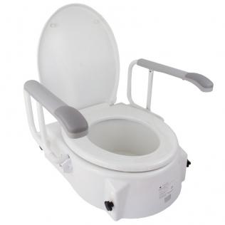 Elevatore di WC | Con coperchio| 5-15 cm| Regolabile in altezza| Inclinabile|Braccioli pieghevoli| Muralla| Mobiclinic