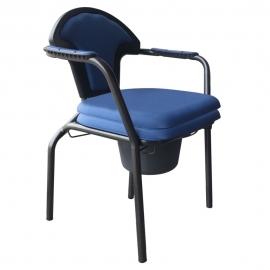 Sedia WC | Sedia wc da camera | Con coperchio | Vaschetta | Blu | Acciaio