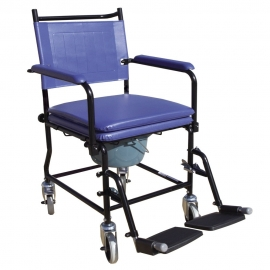 Sedia WC | Sedia imbottita con braccioli | Con WC | Ruote | Freni | Blu | Acciaio