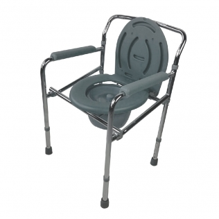 Sedia WC   Con coperchio   Altezza regolabile   Accessori bagno   Acciaio cromato   Grigio   Puente   Mobiclinic