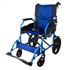 Sedia a rotelle | Pieghevole | Alluminio | Poggiapiedi removibile | Blu | Pirámide | Mobiclinic