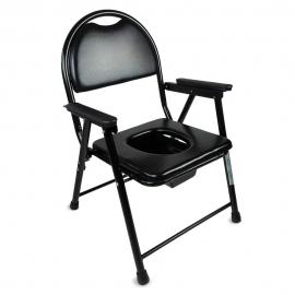 Sedia WC per anziani pieghevole | Acciaio cromato | Braccioli | Nero | Guadalquivir | Mobiclinic