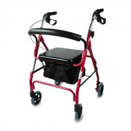 Deambulatore 4 ruote | Pieghevole e regolabile | Borsa e seduta imbottita | Rosso | Alluminio | Sinagoga | Mobiclinic