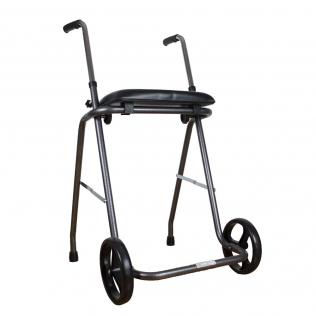 Deambulatore pieghevole | Con due ruote e sedile | Regolabile 75-95cm