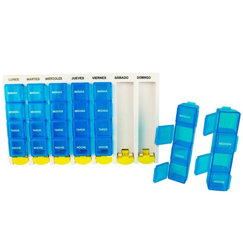 Organizer impilabile per pillole giornaliere 4 volte al giorno promemoria settimanale di medicinali Premium settimanale AM//PM pillola box con 7 singoli casi impilabili
