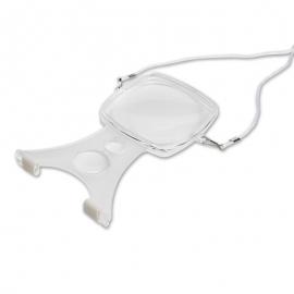 Lente di ingrandimento | Lente di ingrandimento da collo | Lente di ingrandimento con supporto | x2 zoom | Bianco | Mobiclinic