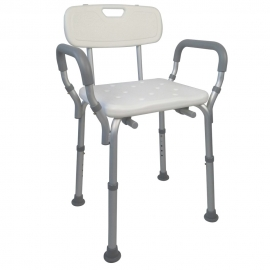 Sedia per doccia |Ausili per disabili | Antiscivolo | Altezza regolabile | Sedile con fori per acqua | Puerto | Mobiclinic