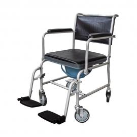 Sedia a rotelle con WC | Comoda wc | Coperchio | Braccioli ribaltabili | Poggiapiedi estraibili | Grigio | Ancla | Mobiclinic