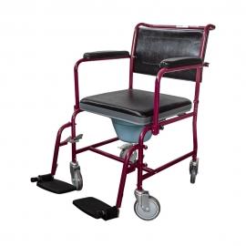 Sedia a rotelle con WC | Comoda wc | Coperchio | Braccioli ribaltabili | Poggiapiedi estraibili | Bordeaux | Ancla | Mobiclinic