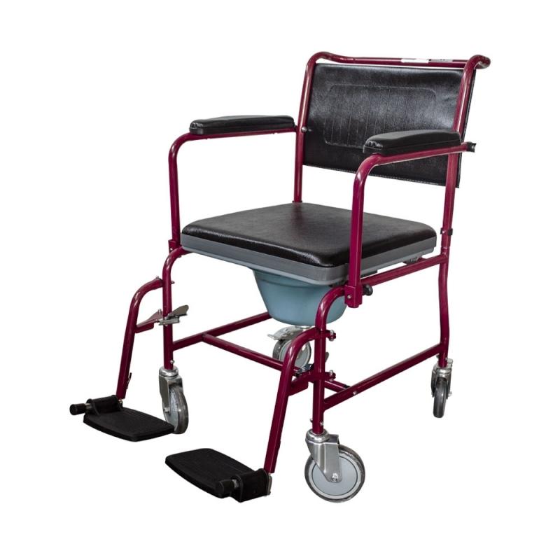 Sedia a rotelle con WC | Comoda wc | Coperchio | Braccioli ...