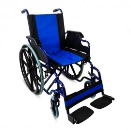 Sedia a rotelle pieghevole | Carrozzina disabili | Braccioli e pedane sollevabili | Acciaio | Blu | Giralda | Mobiclinic