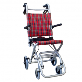 Sedia a rotelle di transito | Pieghevole | Alluminio | Freni sulle maniglie | Immagini della Scozia | Nettuno | Mobiclinic