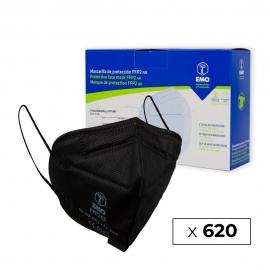620 Maschere per adulti FFP2 | Nero | 0,79€ | Autofiltrante | Marcato CE | 62 scatole da 10 pezzi | EMO