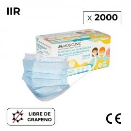 2000 Maschere chirurgiche IIR per bambini | 0,12 € / cd | Senza grafene | 3 strati | 40 scatole - 50 pezzi | Mobiclinic