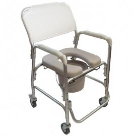 Sedia da doccia | Con toilette | Con rotelle | Alluminio | Mobile