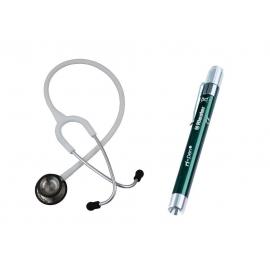 Kit per studenti di medicina   Bianco   Fonendoscopio Riester® Duplex 2.0 LED   Lanterna di diagnostico  Riester