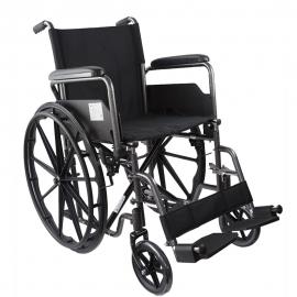 Vouwbare rolstoel   Staal  Verwijderbare voet- en armsteunen   Zitje: 40 cm   Model: S220 Sevilla   Mobiclinic