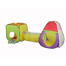 Kindertent | Dubbele tent met tunnel | Opvouwbaar | Inclusief ballen | Vesting | Mobiclinic