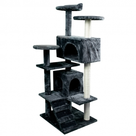Krabpaal voor katten | Groot | 3 hoogtes | 50x50x132 cm | Grijs | Tico | Mobiclinic