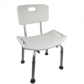 Krzesło kąpielowe   Regulowana wysokość   Aluminium   Oparcie   Drzewo oliwne   Mobiclinic