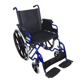 Cadeira de rodas | Dobrável | Rodas grandes | Moldura azul e assento preto | Giralda | Mobiclinic