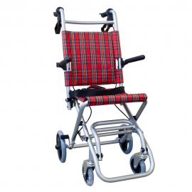Cadeira de rodas de trânsito | Dobrável | Alumínio | Travões de alavanca | Xadrez escocês | Neptune | Mobiclinic