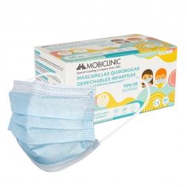 50 máscaras cirúrgicas IIR para crianças | 0,15€ | Sem gráficos | 3 camadas | Caixa de 50 uds | Mobiclinic